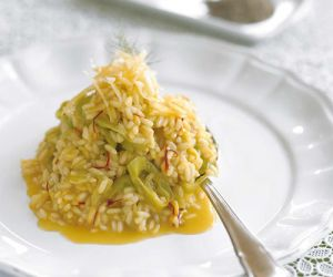Leek Risotto with Kozani Red Saffron and Aged Kasseri
