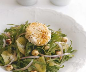 Arugula Salad with Kiwis, Hazelnuts and Warm Manouri Cheese